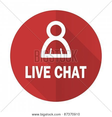 live chat red flat icon