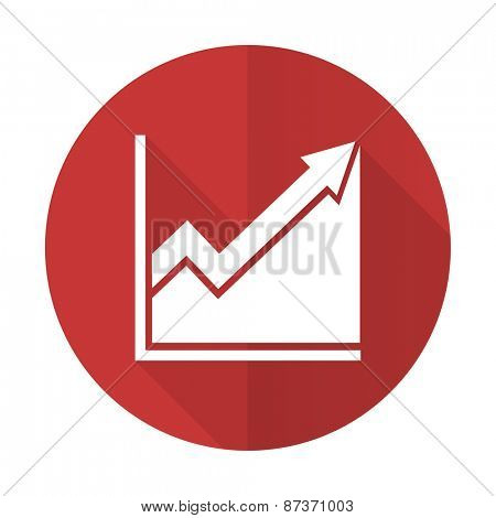 histogram red flat icon stock sign