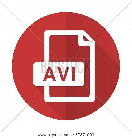 avi file red flat icon