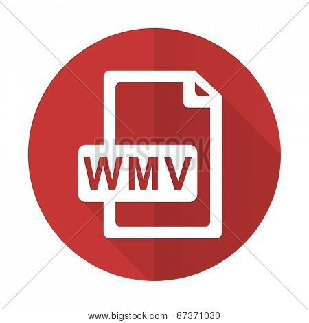 wmv file red flat icon