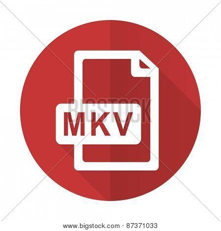 mkv file red flat icon