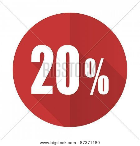 20 percent red flat icon sale sign