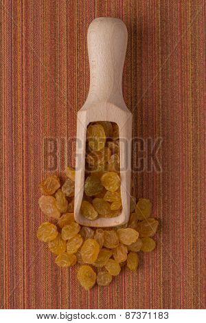 Wooden Scoop With Golden Raisins