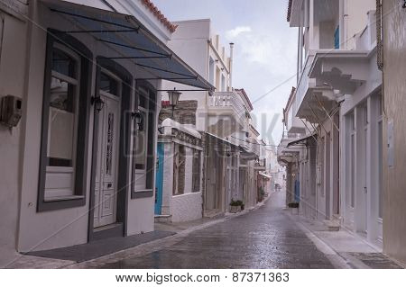 Andros Streets In Rain