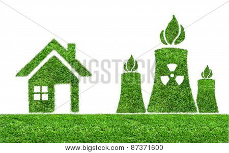 Green grass Nuclear power plant icon