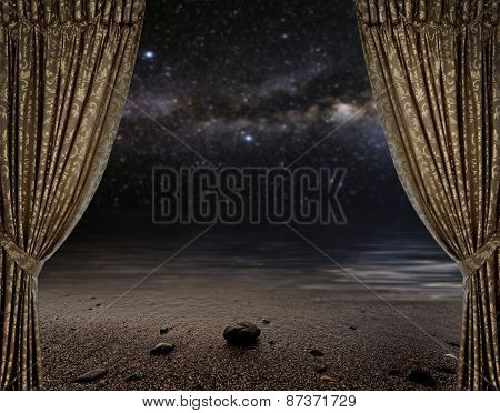 Open curtains on the moon background star sky reflected in the sea. Elements of this image furnished by NASA