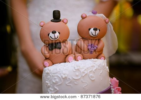 Beautiful Wedding Cake With A Teddy Bear At The Top