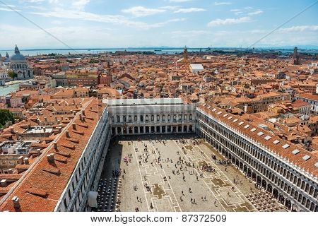 Air View To Famous San Marco Square In Venice