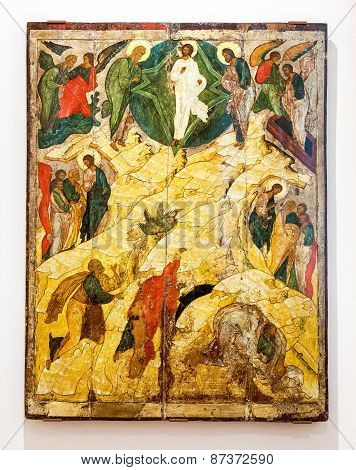 Antique Russian Orthodox Icon The Transfiguration Painted On Wooden Board