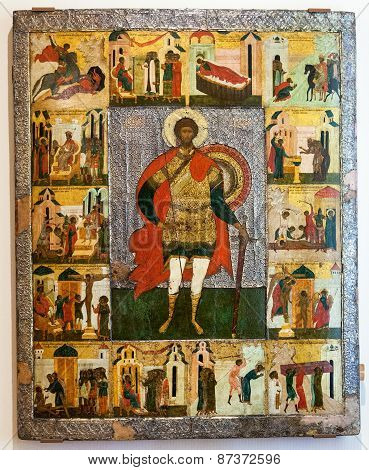 Antique Russian Orthodox Icon Of St. Theodore The Stratelates With Scenes From His Life