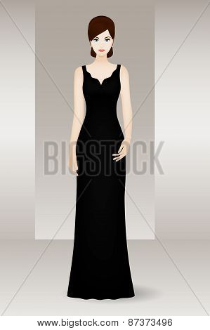Woman in long black evening dress