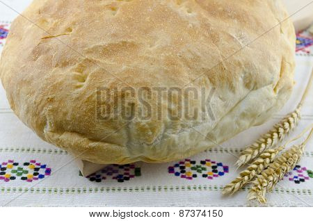 Homemade Bread On A Vintage Tablecloth