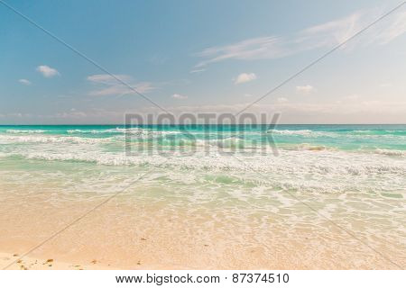 Ocean Waves, White Sand Beach, Caribbean Sea
