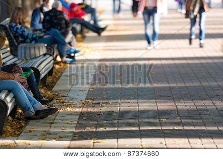 Motion Blurred Pedestrians In The Park
