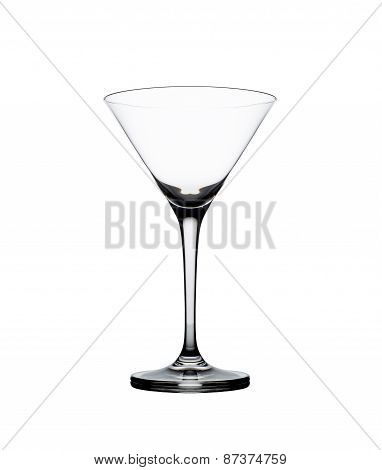 Empty martini glass isolated on the white .