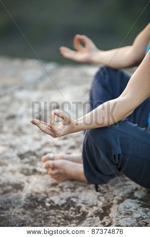 Close up of female hand zen gesturing