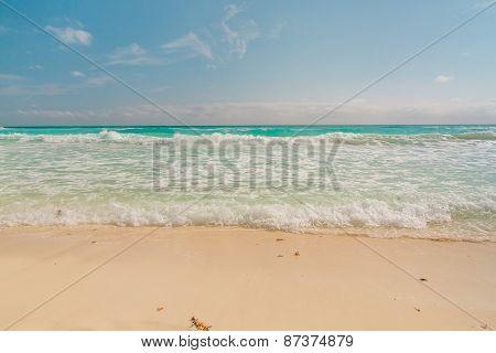 Ocean Waves, White Sand Beach, Caribbean Sea
