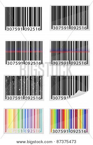 Set Icons Barcode Vector Illustration