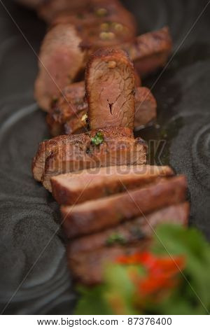 organic fresh ripe roasted beef meat with sauce