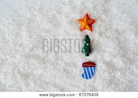 Christmas Toys On White Snow Background
