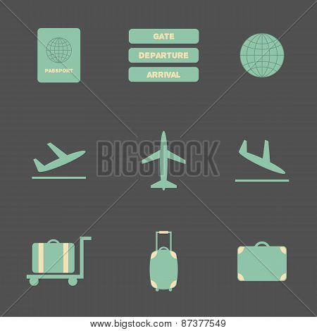 Set of flat airport icons