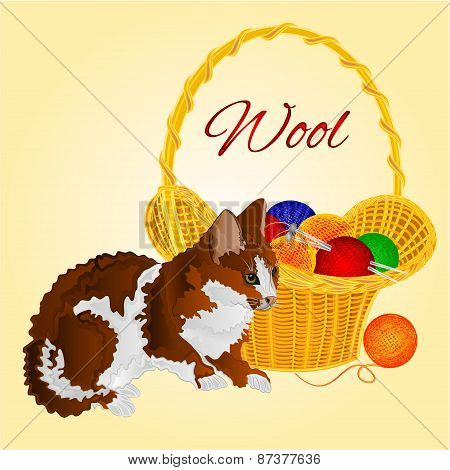 The Cat And A Basket With Balls Of Wool Vector