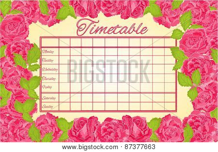 Timetable Weekly Schedule With Pink Roses Vector