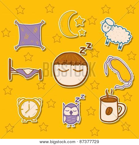 Set of hand drawn stickers on sleep theme