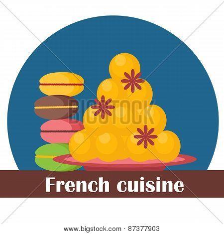 Cartoon illustration on french cuisine theme