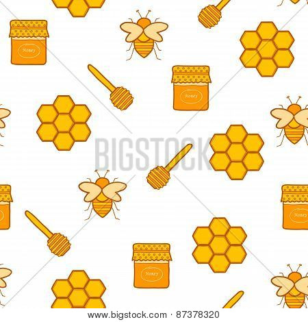 Seamless hand drawn background on beekeeping theme