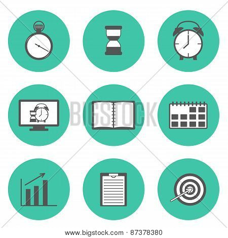 Set of flat time management icons