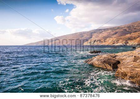 Coastal Shots Of Andros Island In Greece