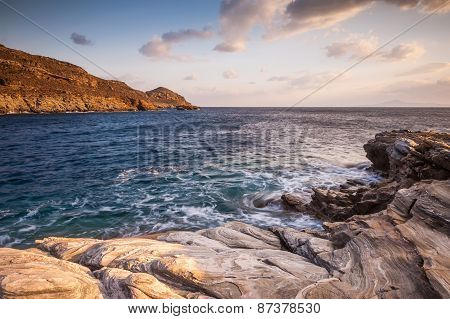 Coastal Shots Of Andros Island In Greece