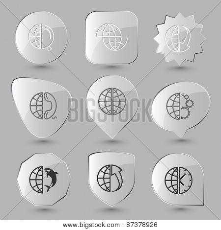 Globe set. Raster glass buttons.
