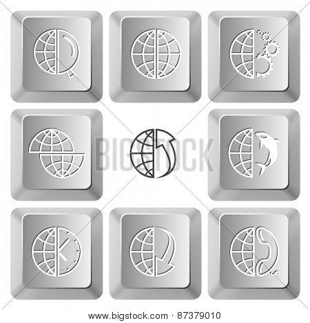 Globe set. Raster set computer keys.