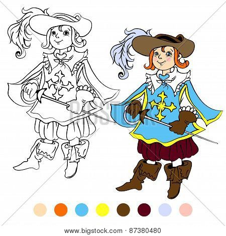 Coloring book kids play musketeer