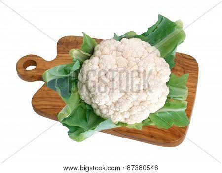 Cauliflower On Wooden Deck Isolated On White