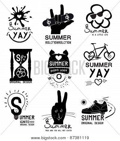 Set of vintage summer labels, logo and designed elements.