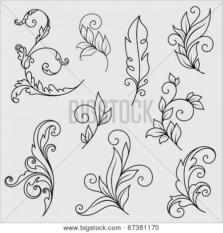 Set of Abstract flower ornaments
