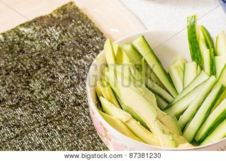 Cucumber slice on wooden background