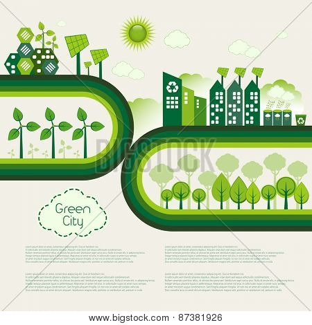 Green Eco city living concept.