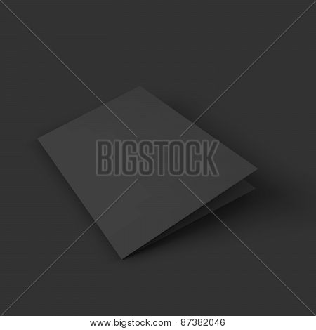 Closed black booklet. Business mockup template.