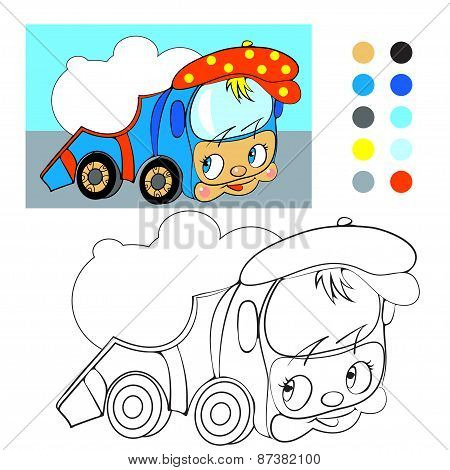 Coloring book. Cartoon funny car truck.