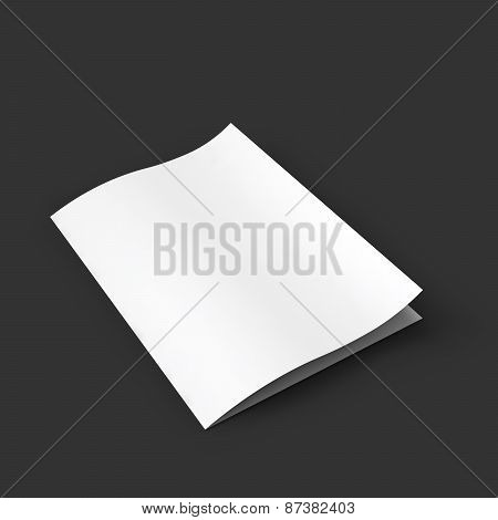 Closed white booklet with a curved leaf. Business mockup template.