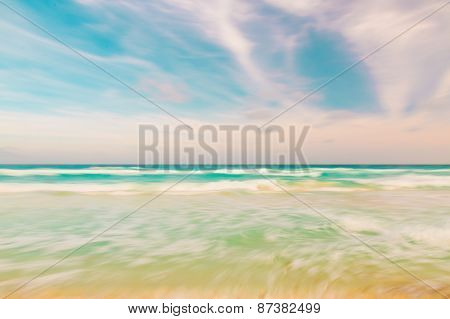 Abstract Sky And Ocean Nature Background With Blurred Panning Motion