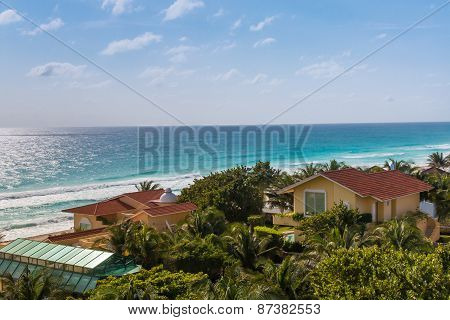 Caribbean Tropical Style Houses On Sea Shore. Cancun, Mexico