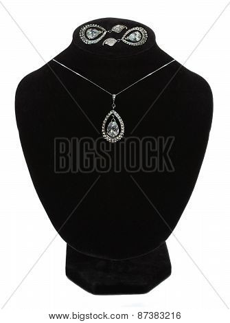 Beautiful Necklace And Earrings On Mannequin Isolated On White