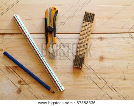 Carpenter Tools On Pine Wood