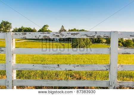 Weathered White Wooden Horse Fence On Country Site