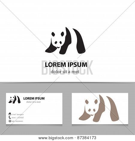 Abstract Vector Panda Logo Design Template With Business Card